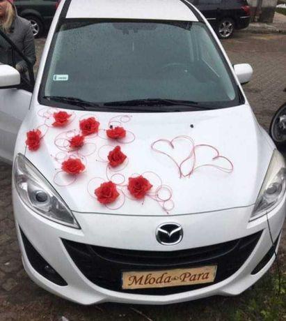 Dekoracja samochodu ślubnego - stroik czerwony - ratanowe serca