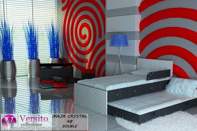Łóżko piętrowe, wysuwane dla dzieci, biel-szary+KRYSZTAŁY-Pszczew