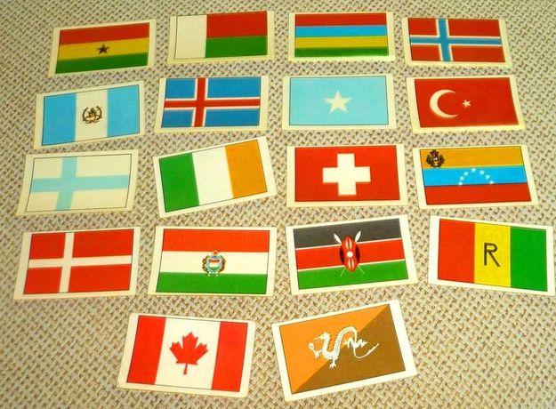 18 Cromos Brindes Antigos Raros Gelados OLÁ Bandeiras 1970s