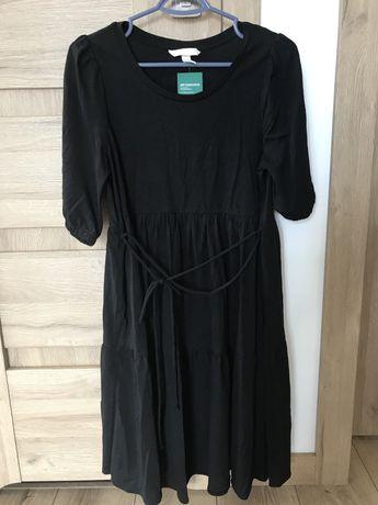 HM H&M mama Nowa sukienka czarna ciążowa bawełna S