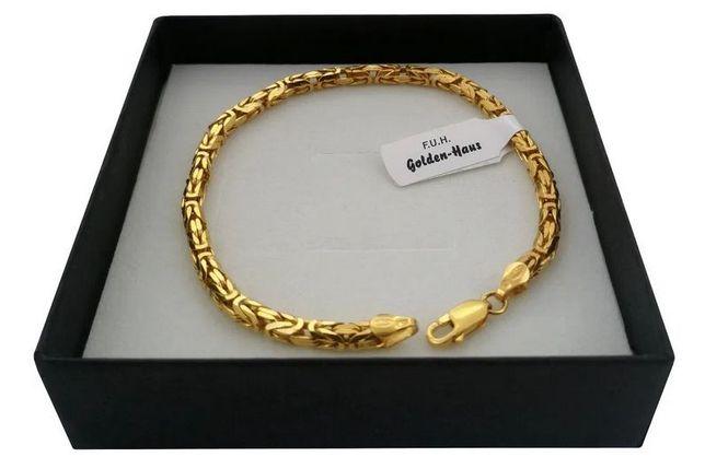 Bransoletka splot królewski 20cm 24k złoto+srebro 925 PREZENT gwarancj