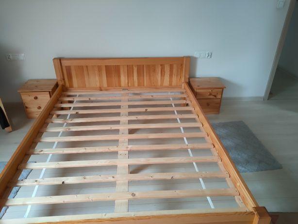 łóżko sosnowe + szafki