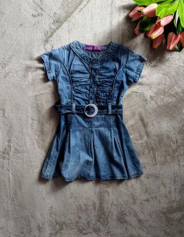 Dżinsowa sukienka z paskiem rozm. 110-116
