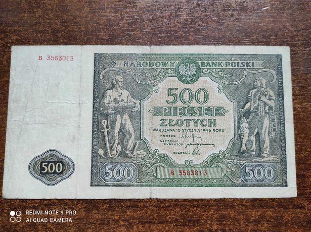 Banknot 500zł 1946r - rzadkość R4, stare pieniądze