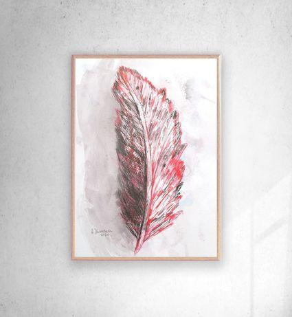 piórko rysunek na ścianę, piórko rysunek w ramce, grafika z piórkiem