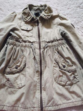 H&M płaszczyk jesienny kurtka przejściowa dla dziewczynki 128 khaki