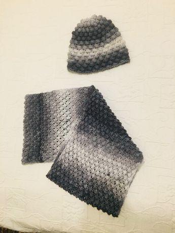 Szary komplet czapka szalik komin ciepły na zimę zestaw