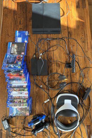PS4 + Okulary VR + Kamerka + 2 pady + ładowarka do padów + 16 gier