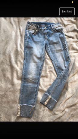 Spodnie jeans rurki s m perelki zdobienia