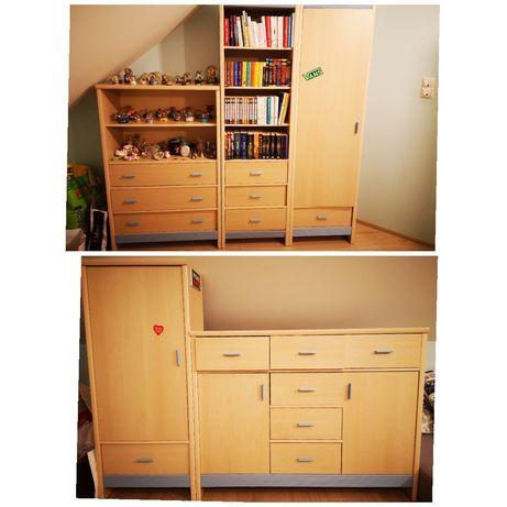 Młodzieżowy zestaw mebli niebieskie regał biurko półka Gablotka komoda