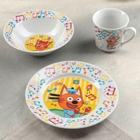 Набор посуды детский, тарелка, миска, чашка 650 руб. Три кота
