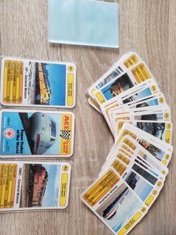 karty kolekcjonerskie autobusy tramwaje pociągi  PRL trumpf