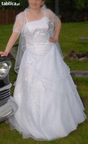 SPRZEDAM Śnieżnobiałą suknie ślubna roz.40-42.