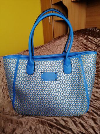 Duza torebka damska niebiesko złota