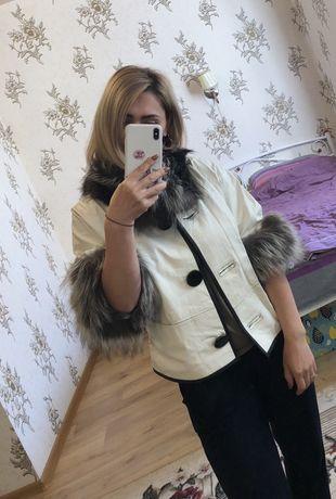Кожаный пиджак кожаная куртка с мехом чернобурки