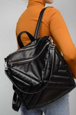 Модная сумка, рюкзак черный, женский, городской, школьный, экокожа