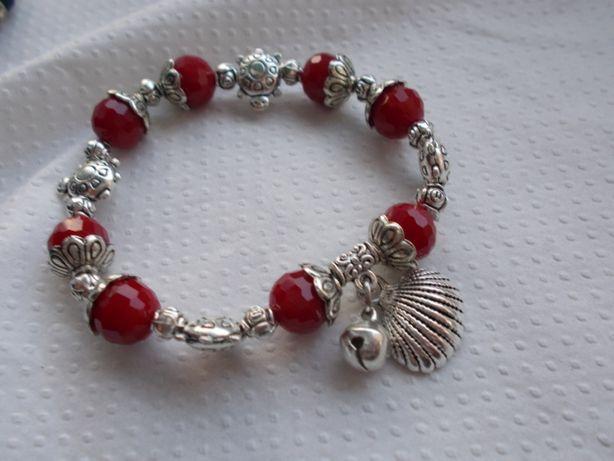 czerwono-srebrna bransoletka z żółwiami Dzień Matki Prezent