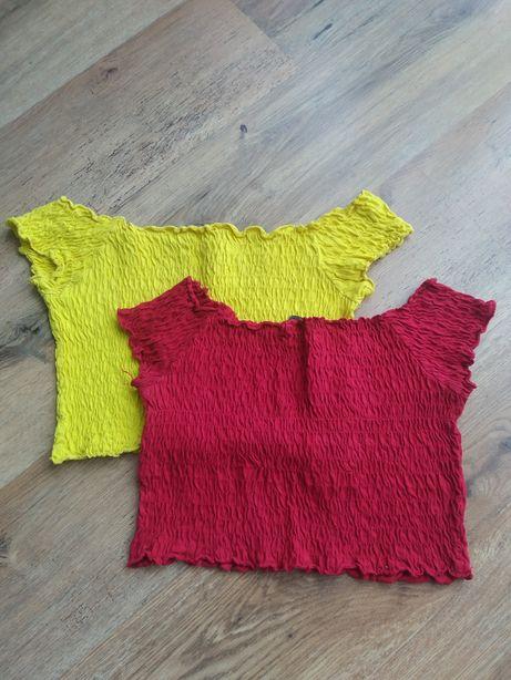 Zestaw croptopow house 38 prążkowany Hiszpanka czerwony żółty