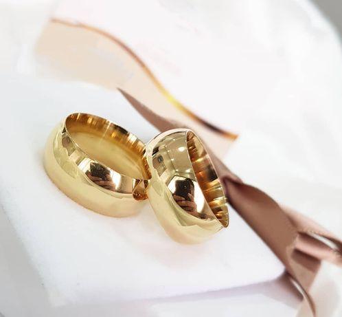 Przepiękna Ponadczasowa Para Złotych Obrączek Ślubnych
