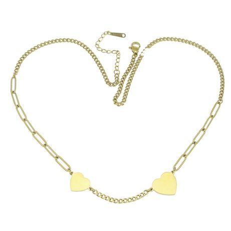 Naszyjnik stal chirurgiczna serca wstawki łańcuszek złoty 316L N841