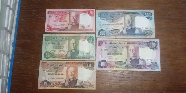 Coleção de notas de angola marechal carmona