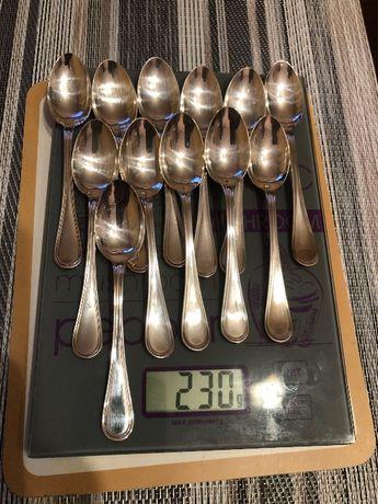 Łyżeczki z włoskiego srebra próba 800 komplety kawa 98g herbata 230g