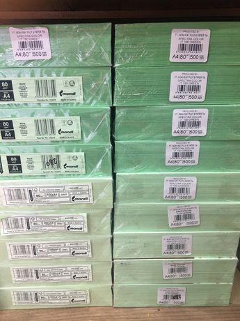 Бумага А4, цветная 80 г/м2 500 листов зеленый пастель
