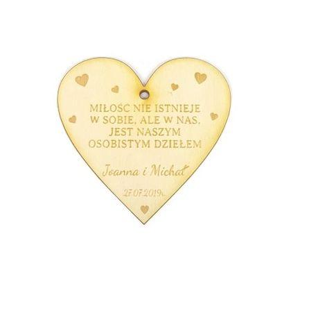 Zawieszka drewniana na wódkę weselną Etykieta na alkohol ślub wesele