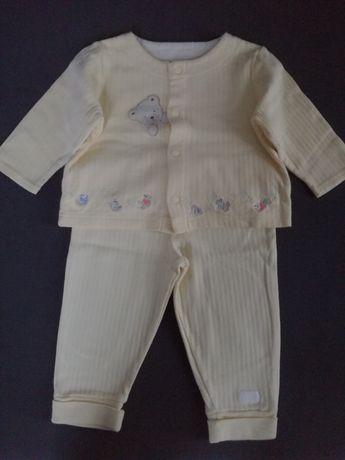 Komplet dresik 80-86 cm dres bluza spodnie żółty z misiem Carter's