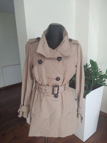 Zara woman płaszcz jesienny przejściowy trencz wiązany 38 40
