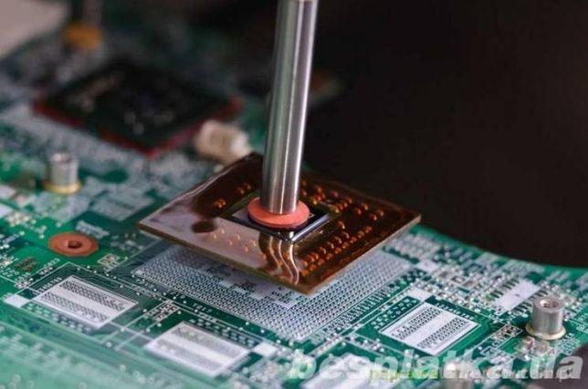 Замена мостов, микросхем реболдинг чипов материнских плат видеокарт.