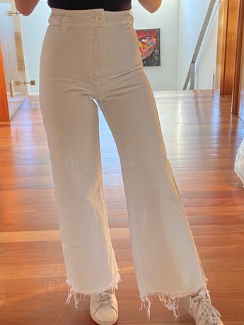 Calças de Ganga Brancas Zara (Straight jeans)