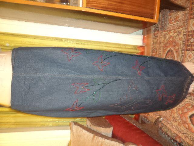 юбка джинсовая вышитая эксклюзивная