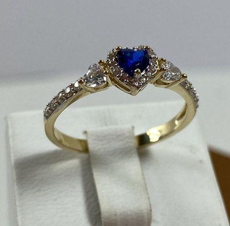 NOWY piękny złoty pierścionek 2,13g / 585 / r. 17