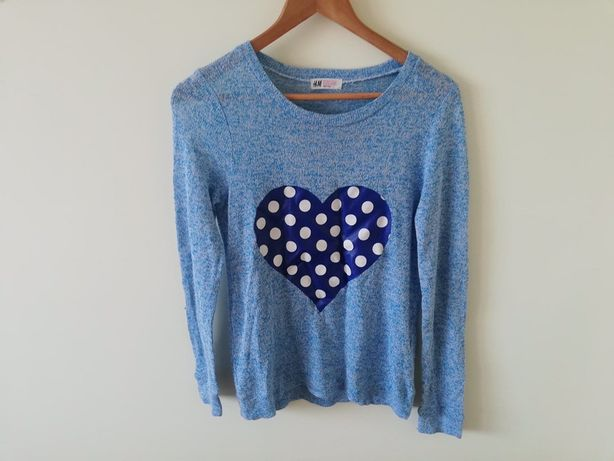 Lekki dziecięcy dziewczęcy sweterek z nadrukiem serce H&M