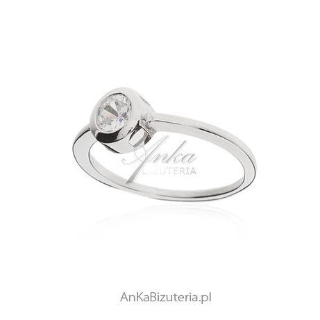 ankabizuteria.pl kolczyki z kamieniami Pierścionek srebrny z okrągłą b