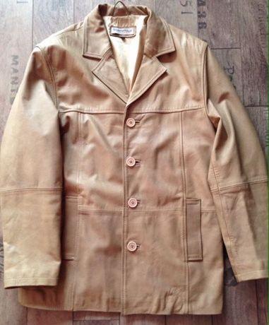 Kurtka płaszcz marynarka jasna beż XL skóra Zara
