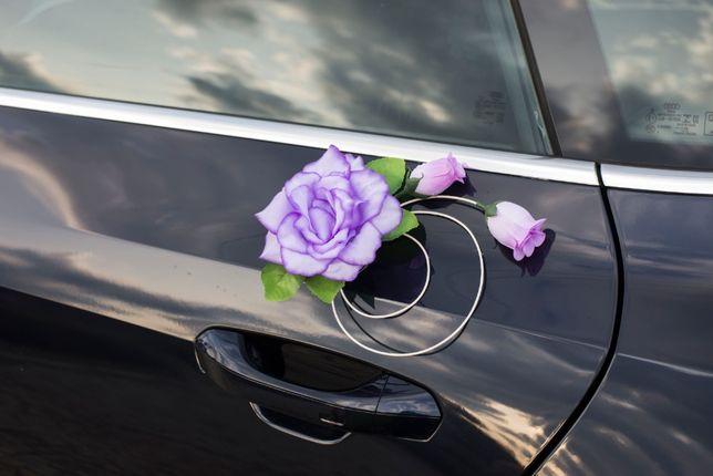 Piękna fioletowa dekoracja na samochód-fioletowe ozdoby na auto-ŚLUB
