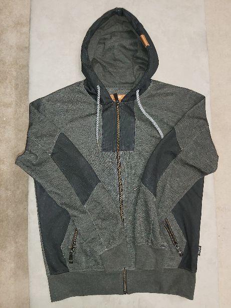 Bluza rozpinana z kapturem szaro-czarna
