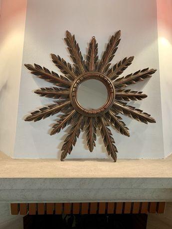 Espelho Sol Antigo Madeira Entalhada Dourado sec.XIX