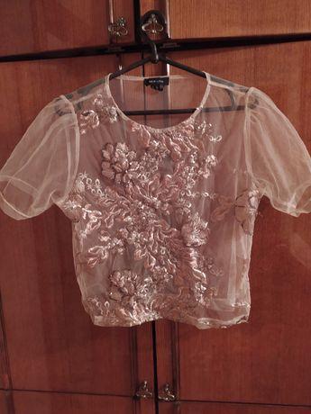 Нюдовая блузка сетка футболка с паетками New Look