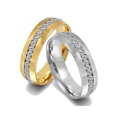 Elegancka Piękna Złota Srebrna Obrączka Cyrkonie Crystal
