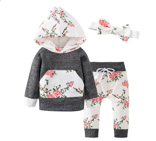 Komplet dresowy dla dziewczynki szary w kwiaty, spodnie + bluza