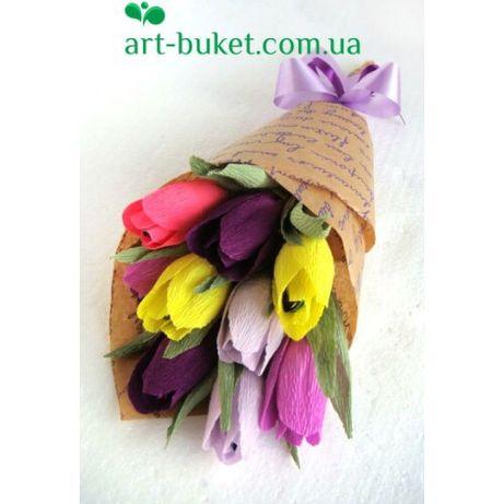 Акция! Букет из конфет с разноцветными тюльпанами!