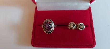 Kolczyki srebrne wkretki pierścionek z fioletowym kamieniem