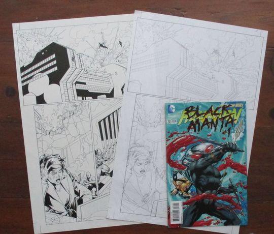 2013 Aquaman - arte original - lápis e tinta da china + comic DC