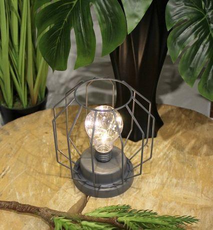 DRUCIANY lampion LED na baterie SZARY GEO z żarówką