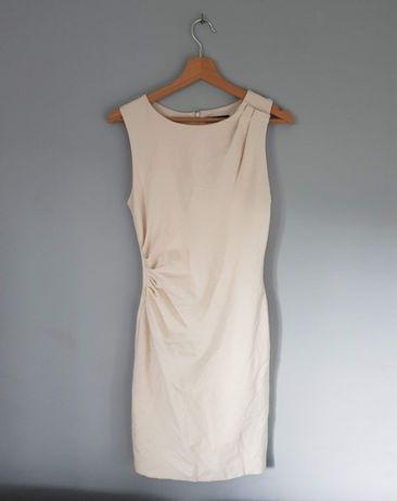 Sukienka MANGO suit S 36 kremowa klasyczna wiskoza z marszczeniem