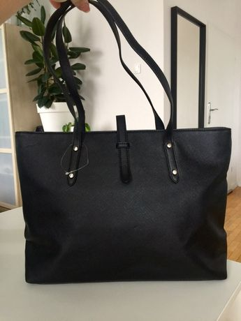 Nowa torebka shopperka eko imitacja skóry torba czarna