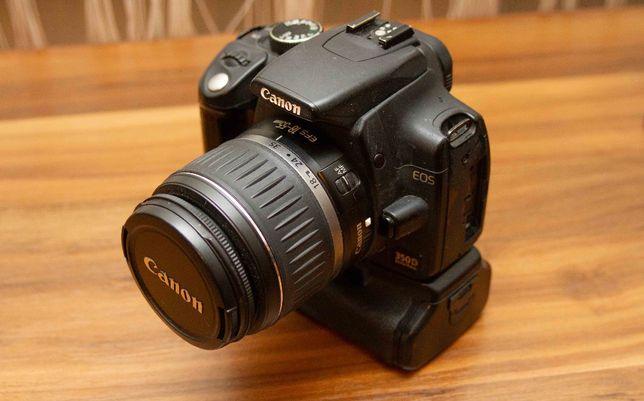 Lustrzanka Canon EOS 350D + obiektyw 18-55 KIT + Grip
